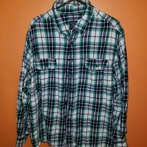Green and Blue Mens Flannel 2XL